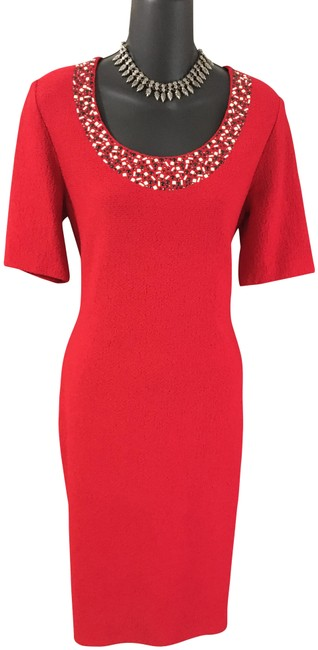 Item - Red Collection Knit Mid-length Work/Office Dress Size 6 (S)