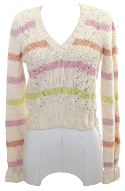 Preload https://item1.tradesy.com/images/chanel-ivory-pastel-pink-and-green-04c-2004-long-sleeve-knit-stripe-sweaterpullover-size-2-xs-2864275-0-0.jpg?width=400&height=650