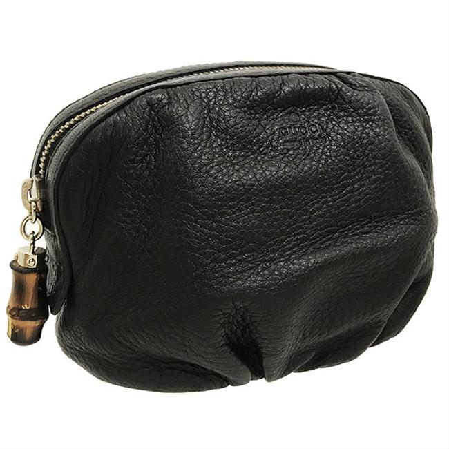 Item - Pouch Bamboo Cosmetic 246175 Dark Brown Leather Clutch