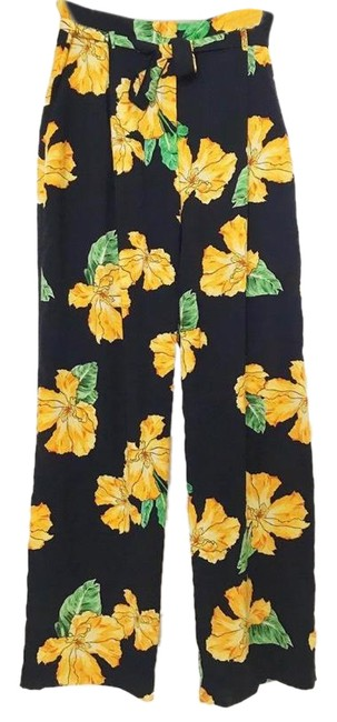Item - Black and Yellow Floral Pants Size 4 (S, 27)