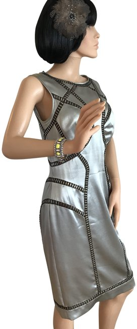 Item - Silver Metal Mid-length Night Out Dress Size 6 (S)