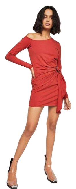 Item - Red Orange Frankie Ruched Mini In Copper Short Casual Dress Size 8 (M)