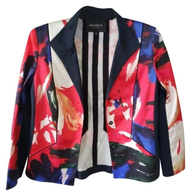 Item - Red Blue Graphic Print Snap Button Blazer Size 6 (S)