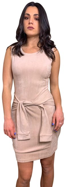 Item - Tan Suede Tie Sleeveless Short Cocktail Dress Size 6 (S)