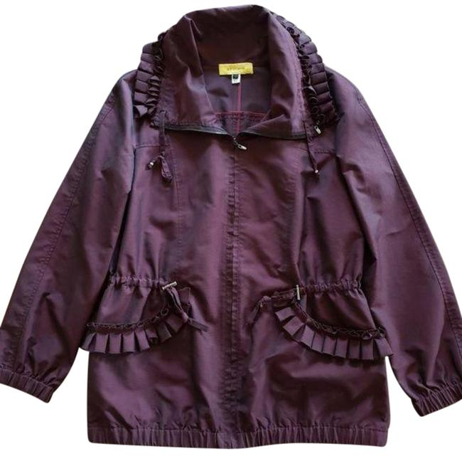 Item - Purple Brown Iridescent Burgundy/Maroon Ruffle Raincoat Jacket Size 4 (S)