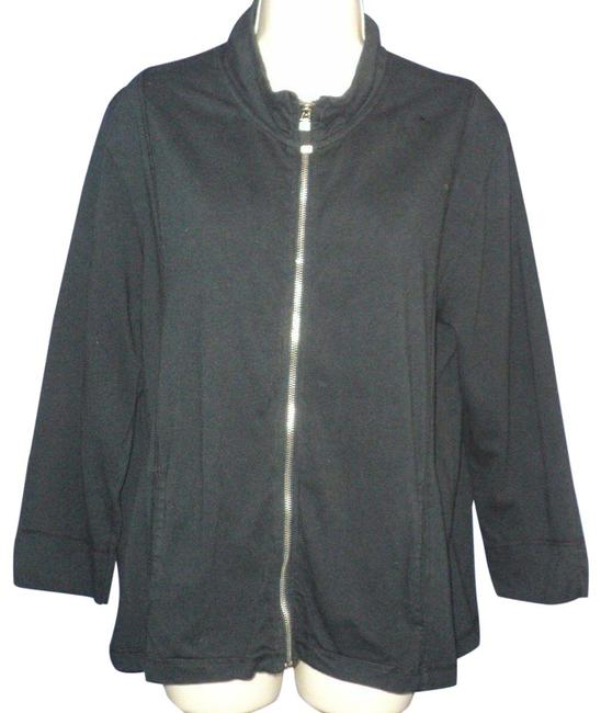 Item - Black Front Zipped 3/4 Sleeves Cotton No Lining Jacket Size 14 (L)