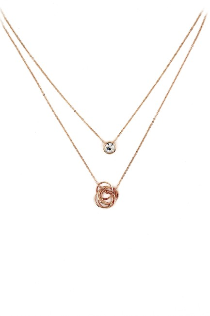 Item - Rose Gold Duplexes Crystal Circle Necklace