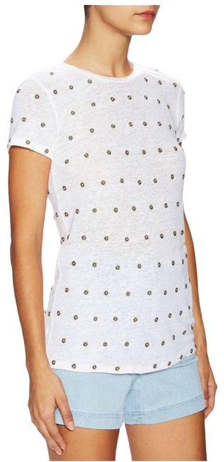 Item - Cream And Robin Embellished Linen T-shirt Tee Shirt Size 4 (S)