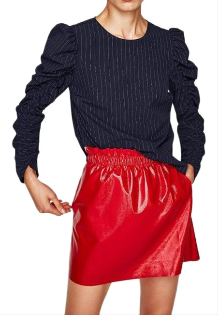 Item - Red L Gathered Faux Shiny Patent Leather New Skirt Size 12 (L, 32, 33)