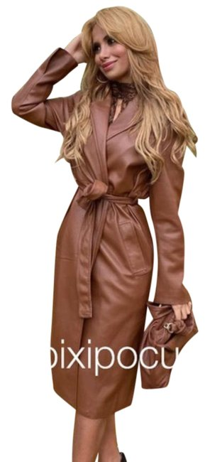Item - Brown Faux Leather Belted Coat Size 8 (M)