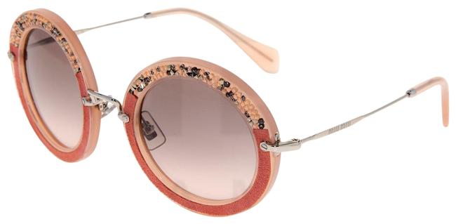 Item - Coral Pink Silver Noir Crystal Pave Rock 08r Suede Round Mu08rs Sunglasses