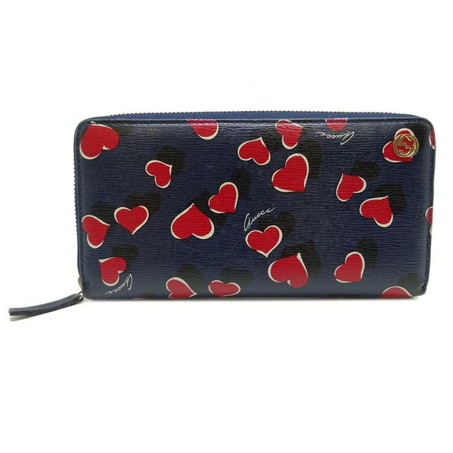 Item - Navy / Red Color Round Zipper Women's 309705 Leather Wallet