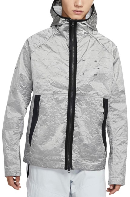 Item - Silver & Black Tech Pack Hooded Jacket*nwt Activewear Outerwear Size 12 (L)
