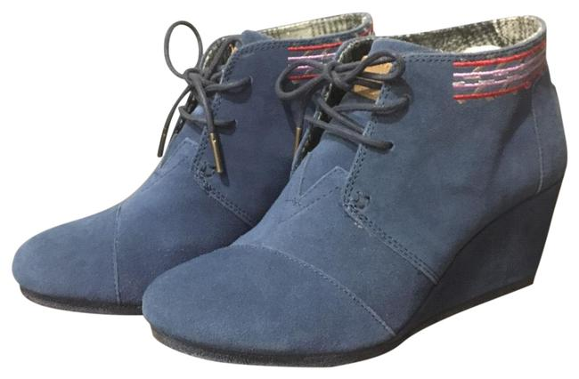 Item - Blue High Heeled Wedge Boots/Booties Size US 7.5 Regular (M, B)