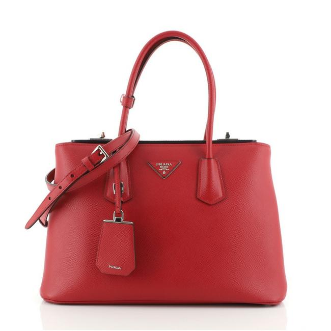 Item - Twin Turnlock Cuir Convertible Saffiano Medium Red Leather Tote