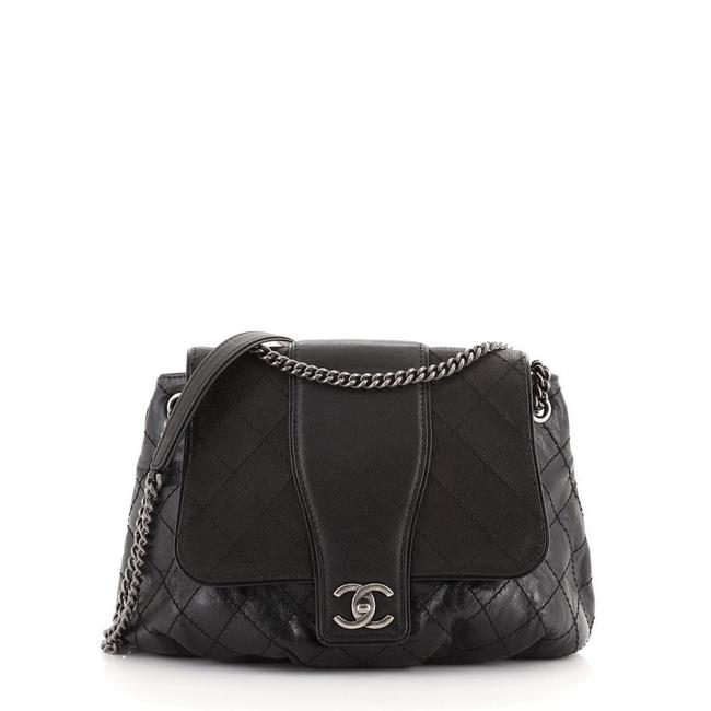 Item - Bubble Graphic Quilted Calfskin with Caviar Large Black Leather Messenger Bag