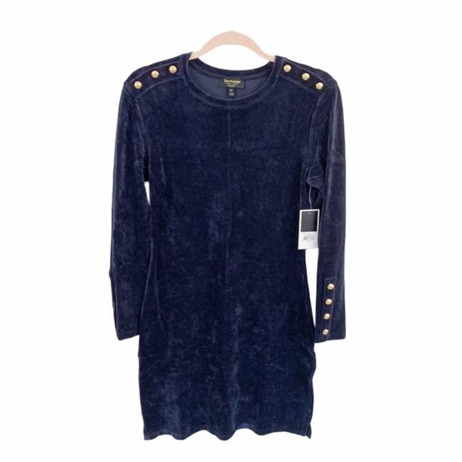 Item - Blue Velour Solid Fitted Dress Blouse Size 8 (M)