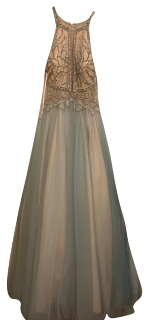 Item - Turquoise and Beige Long Formal Dress Size 12 (L)