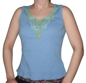 TeeCo Sky Ribbed Sleeveless Lace Top Blue