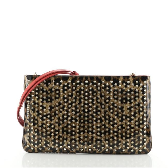 Item - Loubiposh Printed Spiked Brown Print Patent Leather Clutch