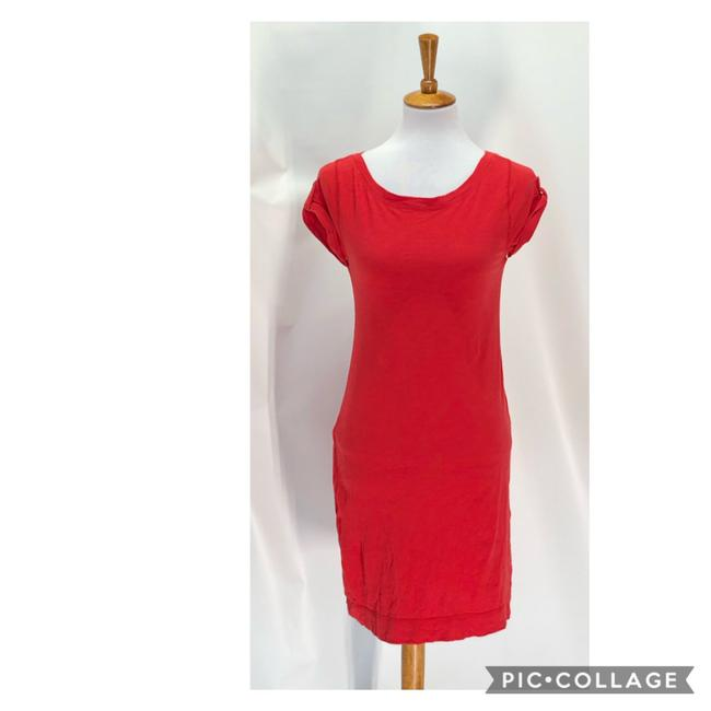 Item - Red Sleeve Tee Mid-length Short Casual Dress Size 2 (XS)