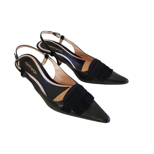 Item - Black Leather/Suede Made In Italy Slingbacks Formal Shoes Size US 7.5 Regular (M, B)