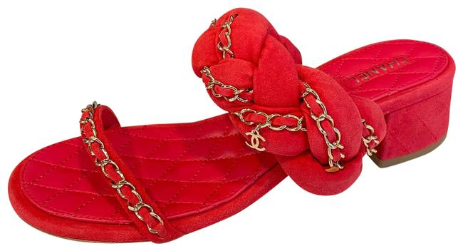 Item - Red 17p Braided Suede Chain Strap Quilted Mule Sandals Size EU 39 (Approx. US 9) Regular (M, B)