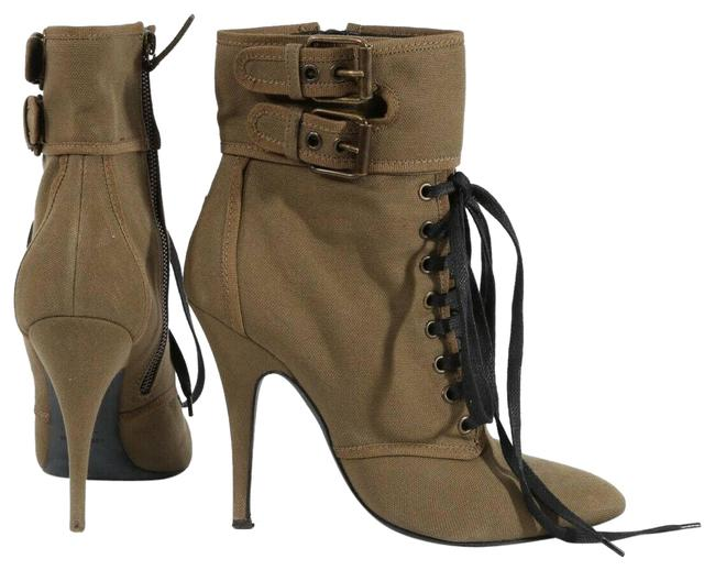 Item - Green For Balmain Olive Canvas Lace Up Ankle Boots/Booties Size EU 40 (Approx. US 10) Regular (M, B)
