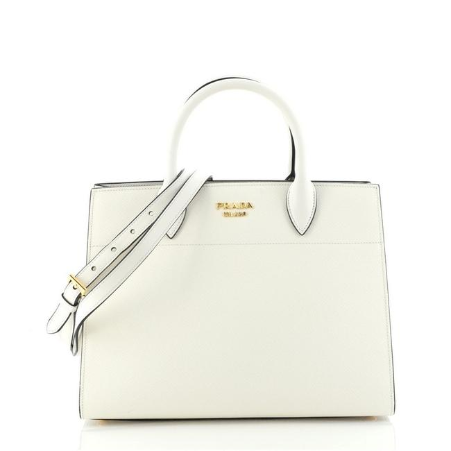Item - Bibliotheque Saffiano with City Calf Medium White Leather Tote