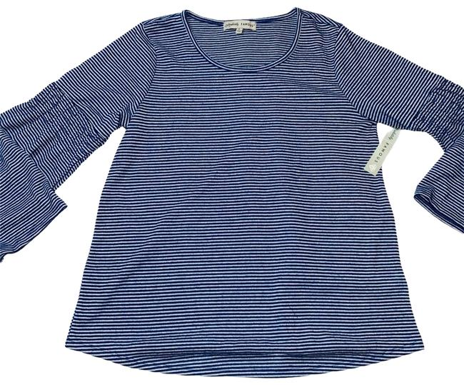 Item - Blue L Striped Bell Sleeve Blouse Size 12 (L)