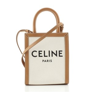 Item - Vertical Cabas With Mini Neutral Canvas Plain Leather Tote