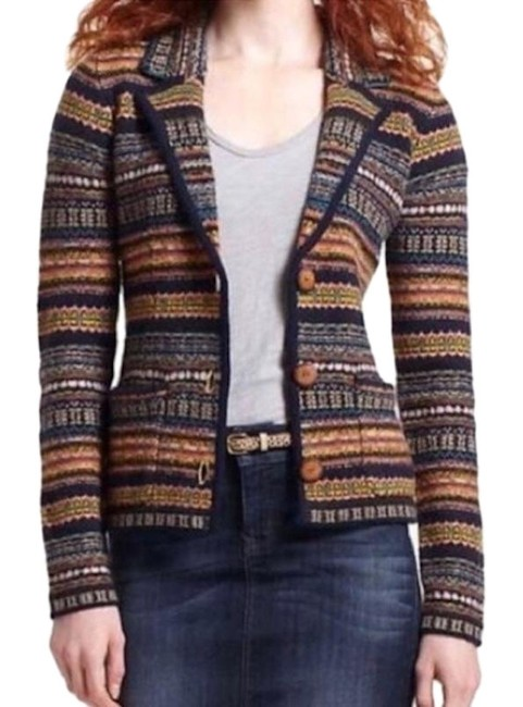 Item - Fair Isle Multi Sparrow Felted Lambswool Sweater Jacket Blazer Size 2 (XS)