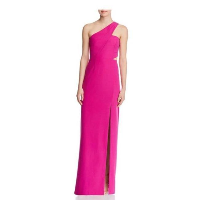 Item - Pink One Shoulder Cut Out Crepe Maxi Gown Long Formal Dress Size 6 (S)