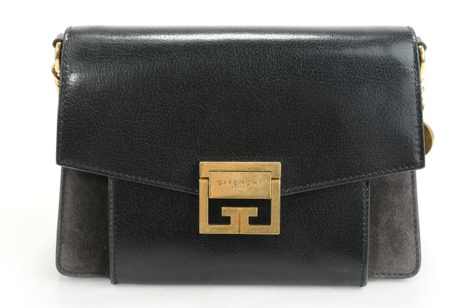 Givenchy Two-toned Small Gv3 Black Suede Leather Shoulder Bag Givenchy Two-toned Small Gv3 Black Suede Leather Shoulder Bag Image 1