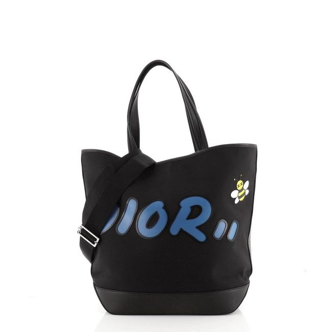 Item - Kaws Bee Convertible Shopper with Applique Large Black Blue Leather Nylon Tote