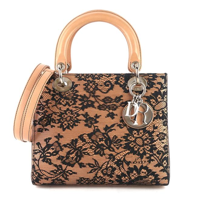 Item - Lady Medium and Floral Lace Beige Lambskin Leather Tote