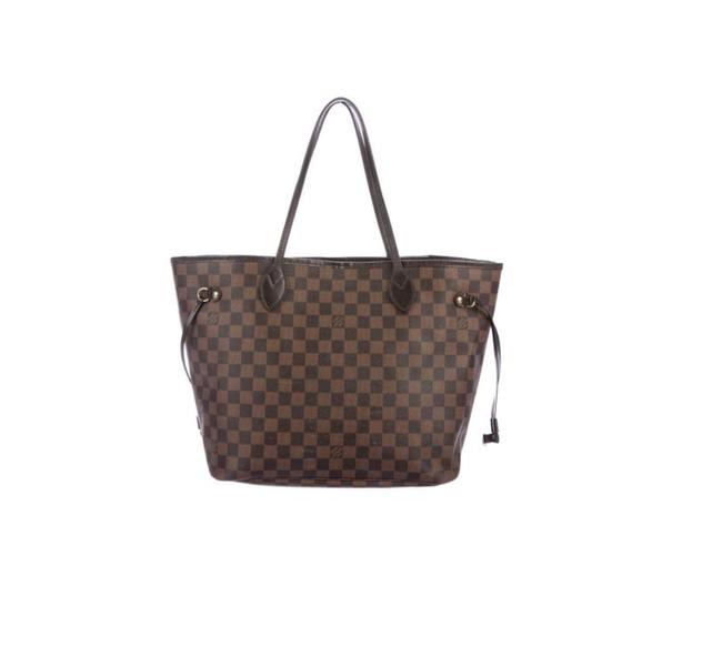 Item - Neverfull Brown Beige Gold Red Damier Canvas Tote