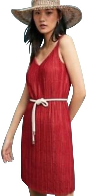 Item - Brick Red Brick/Red Color Sleeveless Meadow Rue Prespa Pleated Mid-length Short Casual Dress Size 14 (L)