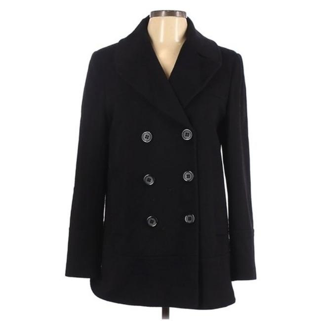 Item - Black Wool Double Breasted Coat Size 10 (M)