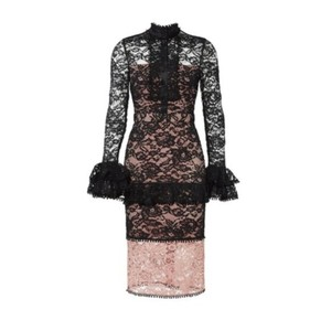 Alexis Sheer Lace Ruffles Valentines High Neck Dress