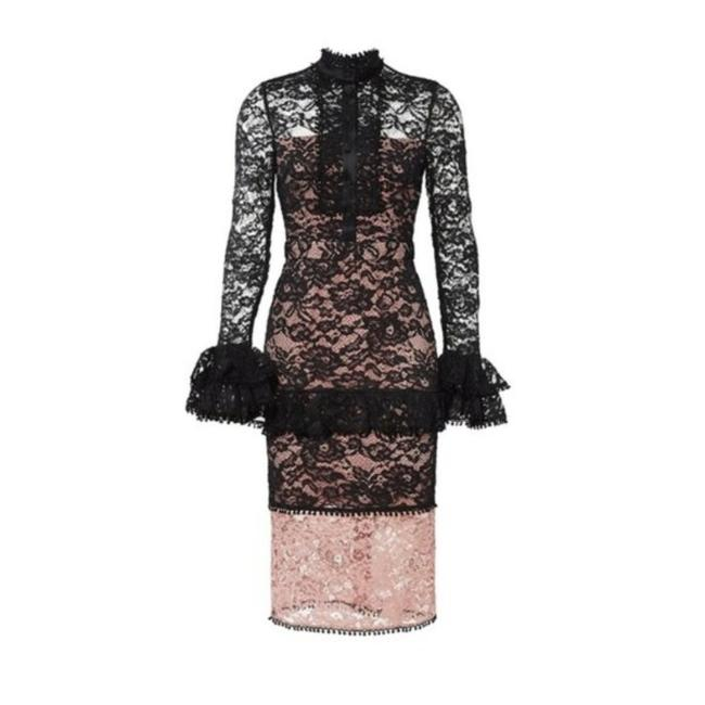 Item - Black Pink Beverly Sheer Ruffle Lace Mid-length Formal Dress Size 8 (M)