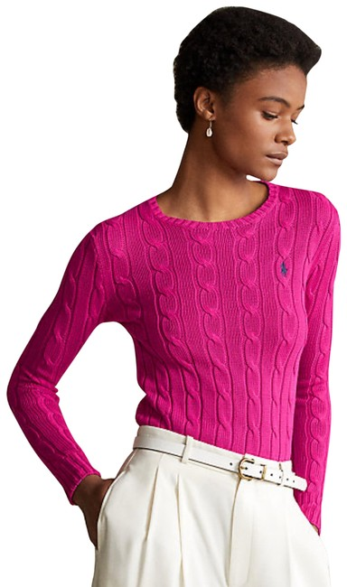 Item - Sport Cable-knit Cotton Crew Neck Pink Sweater