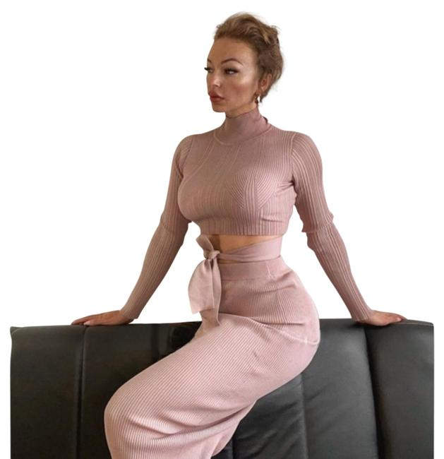 Item - Pink Tied Knit Top + Skirt Co-ord Set Mid-length Casual Maxi Dress Size 12 (L)