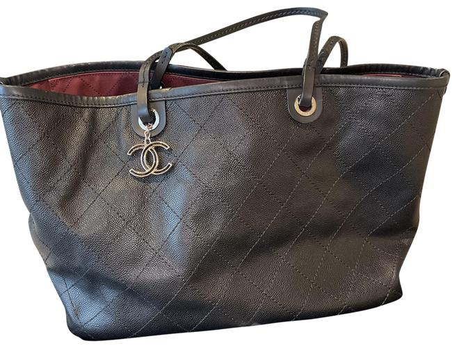 Item - Shopping Quilted Black Leather Tote