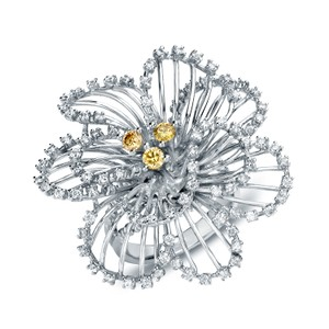 14k White Gold 1 1/3ct Tdw Diamond Flower Cocktail Ring (g-h Si1-si2)