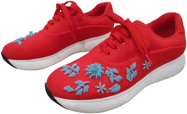 Item - Red and Blue Embellished Lace Up Turquoise Beading Sneakers Size EU 38.5 (Approx. US 8.5) Regular (M, B)