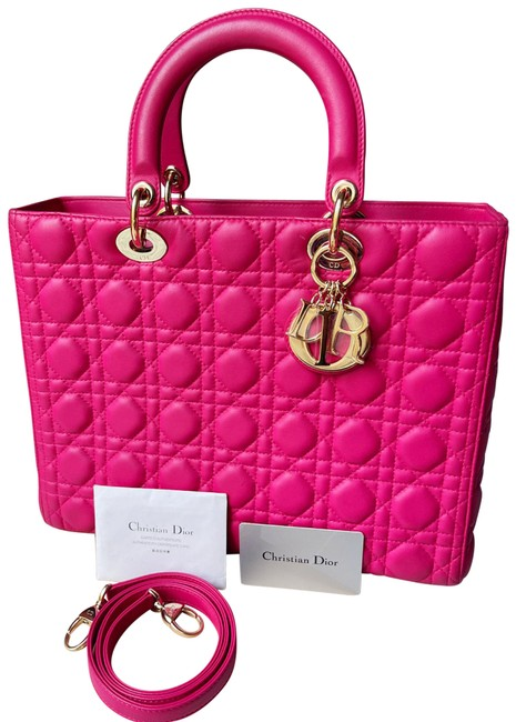 Item - Lady Gold Hardware Lamb Hot Pink Lambskin Leather Tote