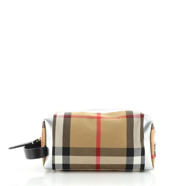 Item - Brown Silver Toiletry Pouch House Check Canvas