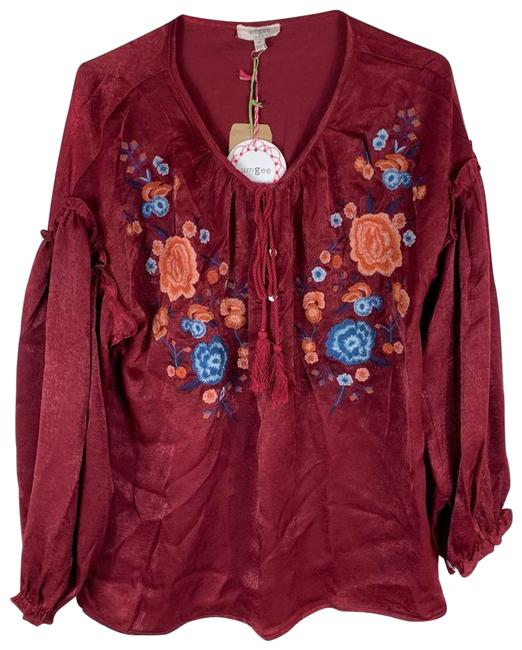Item - Red New Embroidered Long Sleeve Women Medium Blouse Size 8 (M)