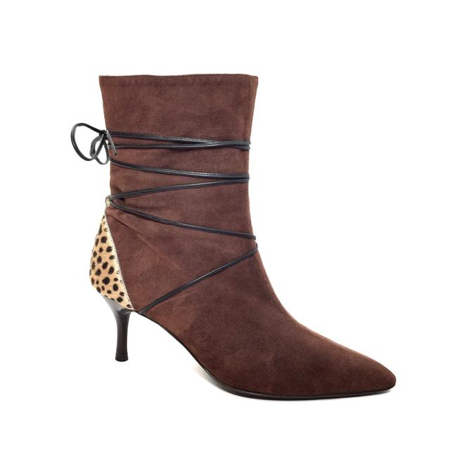 Item - Brown Suede and Leopard Print Calfhair Ankle Boots/Booties Size EU 37.5 (Approx. US 7.5) Regular (M, B)